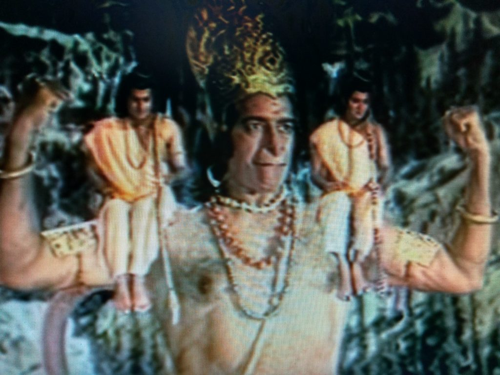 A mighty lord Hanuman taking Lord Rama and Laxman on his shoulder in Ramayana, a lessor know fact