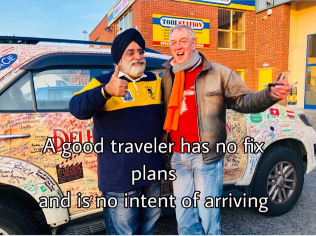A SIKH MAN RIDES A CAR FROM DELHI TO LONDON