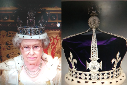 Queen Elizabeth II wearing Kohinoor Diamond studded crown